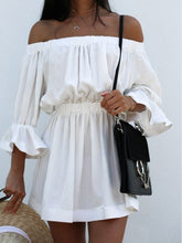 Load image into Gallery viewer, Half Sleeve Off Shoulder Elastic Waist Casual Dress