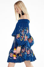 Load image into Gallery viewer, Shoulder-off Bohemian stripes heavy geometric embroidery tassels Blue dress