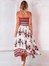 Load image into Gallery viewer, Beautiful White Floral Strapless Elastic Waist Front Split Bohemia Maxi Dress