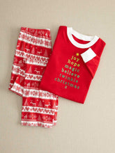 Load image into Gallery viewer, Christmas Day Plus Size Family Clothing Pajamas Long Sleeve Letter Print Top And Long Print Pants Trousers One Set