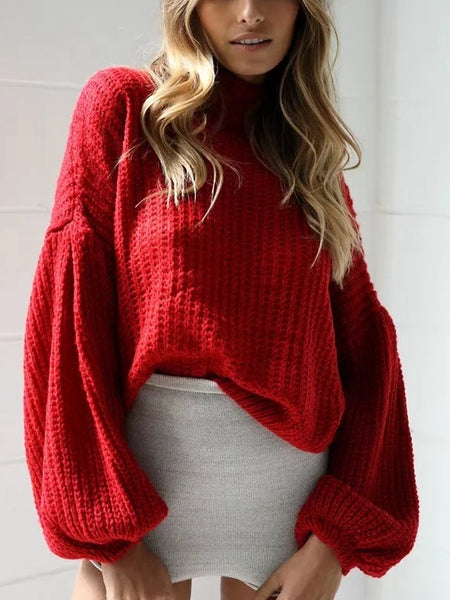 Autumn And Winter Lantern Sleeves Loose Sweater