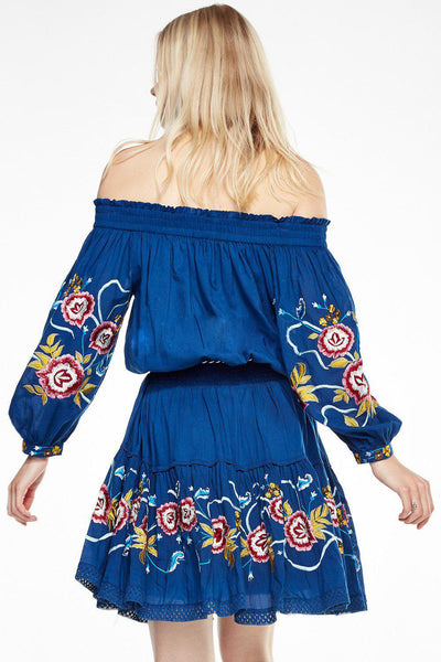 Shoulder-off Bohemian stripes heavy geometric embroidery tassels Blue dress
