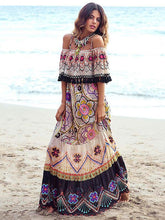Load image into Gallery viewer, Flower Print Off Shoulder Tassel Bohemia Maxi Dress