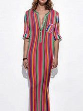 Load image into Gallery viewer, Colorful Stripe V Neck Split Maxi Long Dress