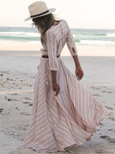 Load image into Gallery viewer, Pretty Striped V-neck 3/4 Sleeves Bohemia Maxi Dress