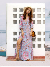 Load image into Gallery viewer, V-neck 3/4 Sleeves Floral Print Split-Front Beach Maxi Bohemian Dress