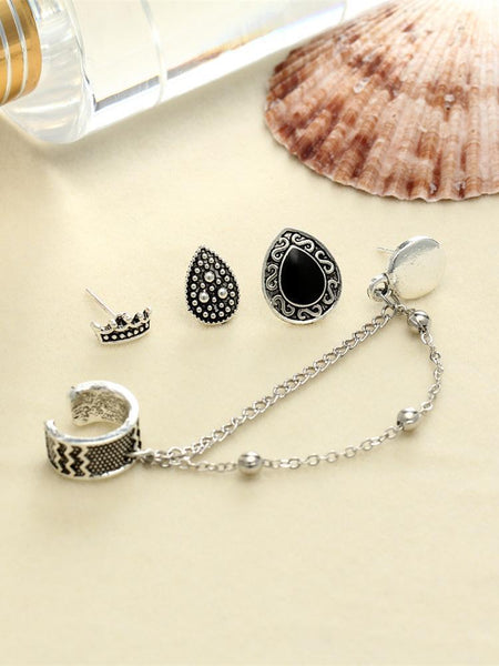 4 PCS Vintage Chain Tassels Crown Water Drop Pattern Earrings