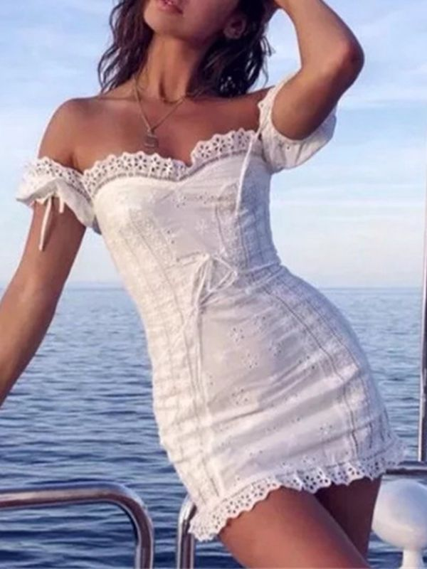 Sexy Lace Straps Off-The-Shoulder Puff Sleeves Dress