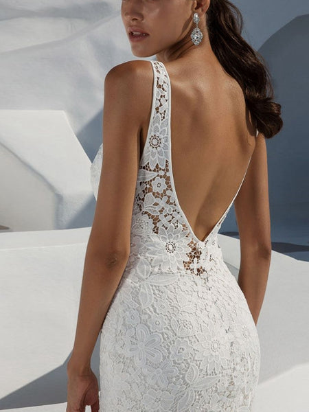 Deep V Sexy Lace Backless Dress Sleeveless White Trailing Dress