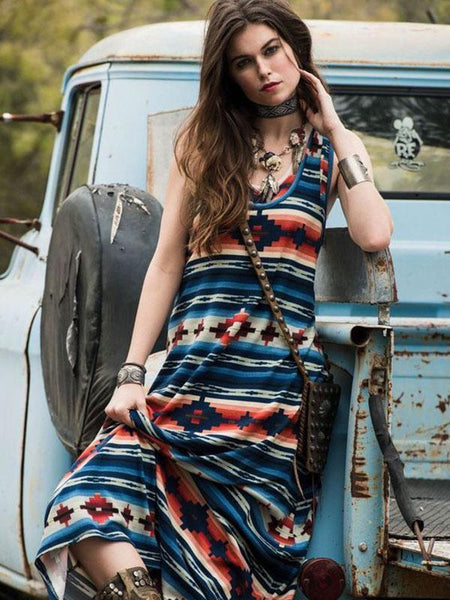Bohemia Striped Sleeves Maxi Dress