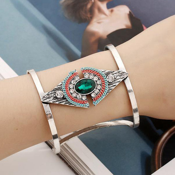Metallic Gemstone Diamond Open Bracelet Accessories