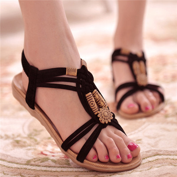 Flower Bead Knitting Clip Toe Slip On Flat Beach Outdoor Sandals