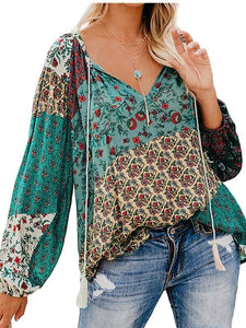Women Autumn Blouse Floral Print Long Loose V-neck Pullover Drawstring Shirt