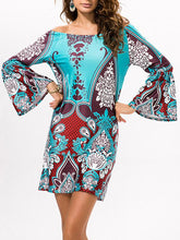 Load image into Gallery viewer, Sexy Floral Bohemia Off Shoulder Long Trumpet Sleeve Bodycon Mini Dress