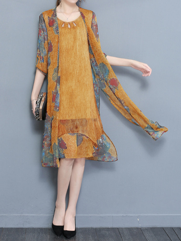 Vintage Chiffon Women Two Pieces Set Half Sleeve Print Dresses