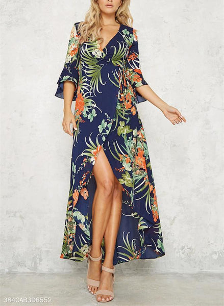Sexy V-Collar Bohemian Floral Dress