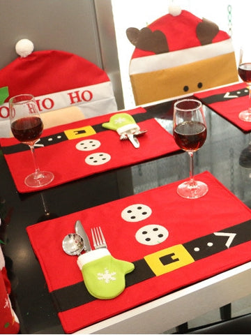 Creative Christmas Decoration Table Mat with Tableware Bag