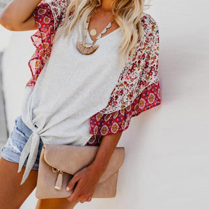 Boho Printed Geometric Irregularity Short-Sleeved Blouse Tops