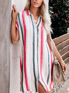 Casual Stripes Short Sleeve Above Knee Shirt Mini Dresses