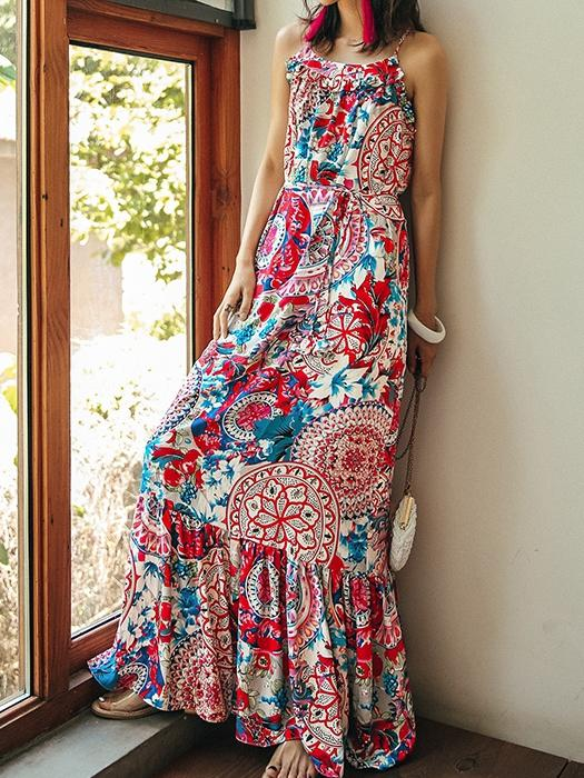 Ethnic Style Summer Bohemian Holiday Thailand Beach Spaghetti-strap Long Dress