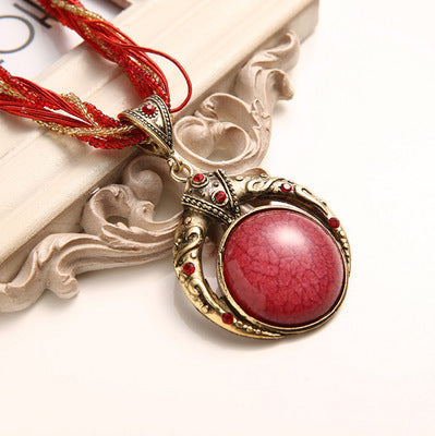 Hand-woven Bohemian Round Gem Necklace