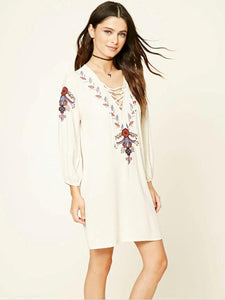 Fashion Inwrought Floral-Print Lace-up V Neck Bohemia Beach Dress