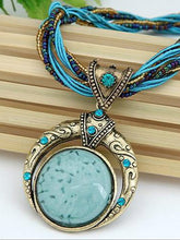 Load image into Gallery viewer, Hand-woven Bohemian Round Gem Necklace