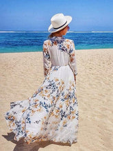 Load image into Gallery viewer, Chiffon Beach Vacation Floral-Printed Half Sleeve Mask Cover-ups Long Dress