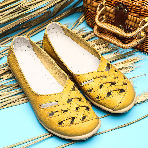 7e1bda192 Hollow Out Leather Breathable Casual Slip On Moccasin For Women ...
