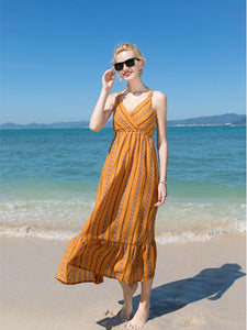 Fashion Yellow Bohemia Spaghetti Straps Maxi Dress