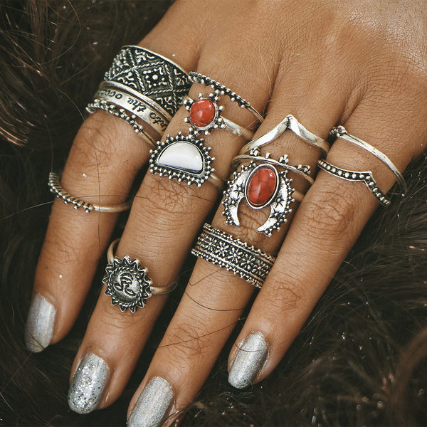 14 pcs Vintage silver carved floral ring red & white turquoise BOHO ring set