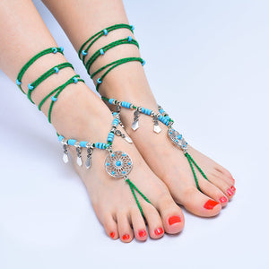 Bohemian ethnic style beach bikinis long cotton line with anklet