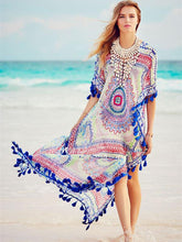 Load image into Gallery viewer, Sexy V-neck Print Bohemia Maxi Beach Dress