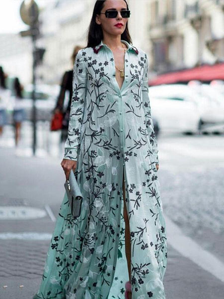 Print Long Sleeve Shirt Dress Boho Maxi Dress