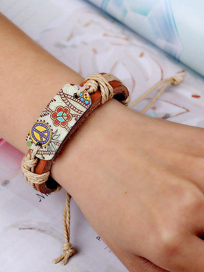 Leather Bracelet Men And Women Jewelry Heat Transfer Peace Sign Bracelet