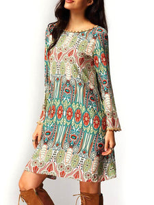 Beautiful Bohemia Long Sleeve Round Neck Mini Dress