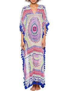 Sexy V-neck Print Bohemia Maxi Beach Dress