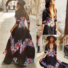 Load image into Gallery viewer, Bohemia stylish half sleeve colorful V-neck print long dress