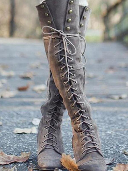 2018 Winter Rivet Bandage Thigh-high Boots Shoes