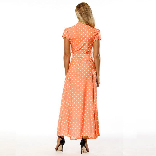 Polka Dot V Neck Short Sleeve Side Split Beach Maxi Dress