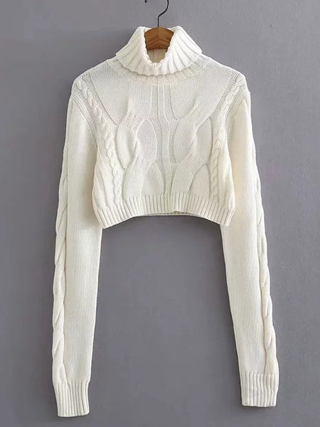 Autumn And Winter High Collar Twist Short Sexy Umbilical Sweater