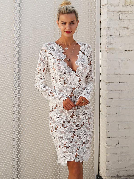 Sexy Lace Hollow V Neck Long Sleeve Bodycon Midi Dress