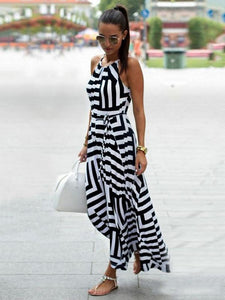 Sexy Stripe Sleeveless Irregular Maxi Dress
