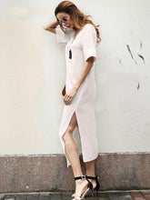 Load image into Gallery viewer, Solid Color Short Sleeve Split Dress