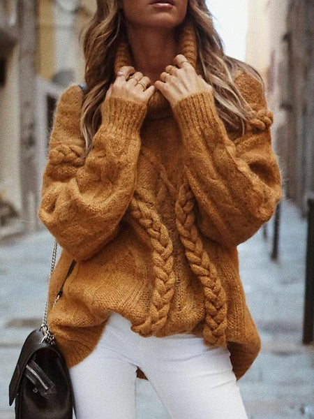 Casual Loose Turtleneck Solid Color Pullover Sweater Jumper