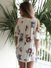 Load image into Gallery viewer, Flower Print Cold Shoulder Tops T Shirt Blouse