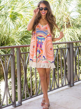 Load image into Gallery viewer, Floral Printed Tassel Trimmed Round Neck Mini Dress