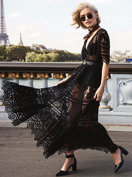 2018 Lace See Through Short Sleeve Maxi Dress