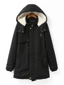 Hooded Flap Pocket Plain Fleece Lined Coat