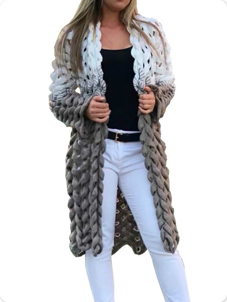 White Gray Patchwork Knitted Cardigan Women Elegant Hollow Out Long Sleeve Christmas Sweater Winter Fashion Outwear Coat